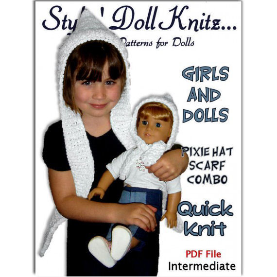 Knitting Pattern Matching Girl And Doll Pixie Hat Scarf Combo