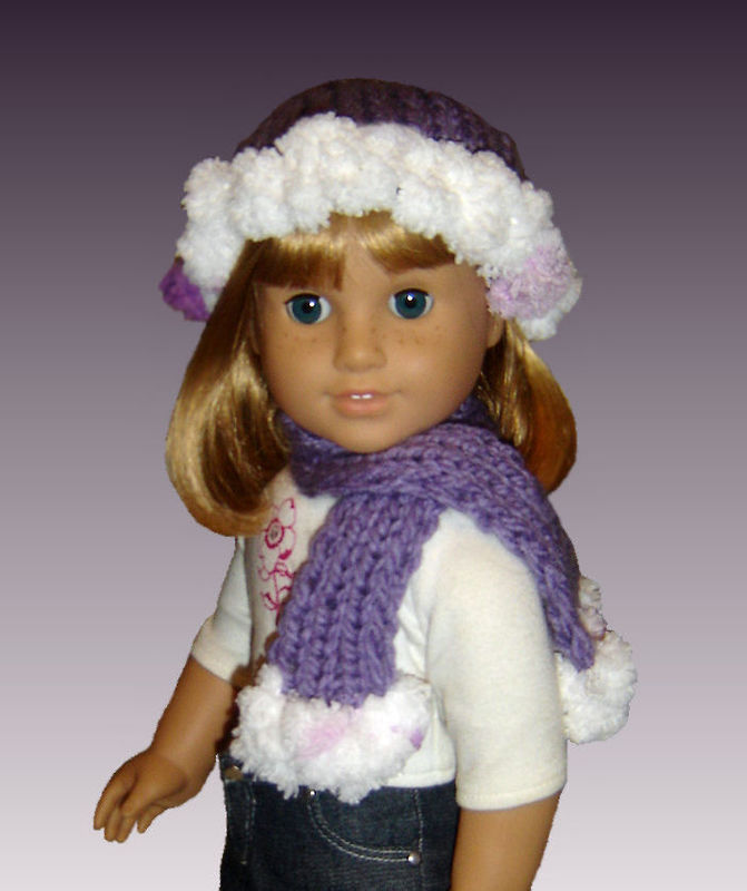 Knitting Pattern Fits American Girl Doll 18 Inch Hat And Scarf