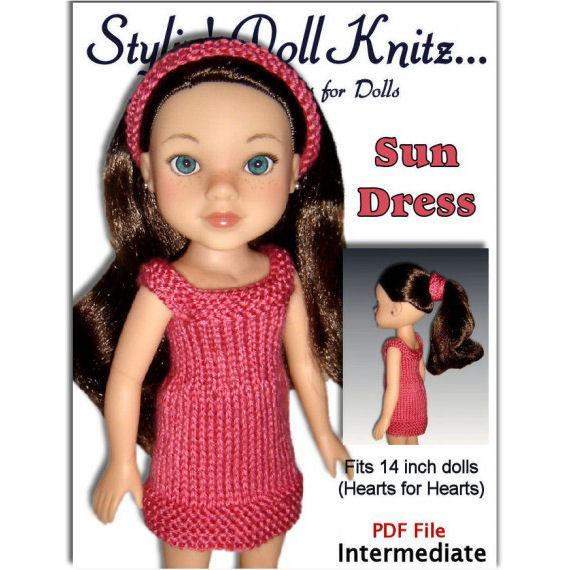 Doll Dress Knitting Pattern Fits Hearts For Hearts 14