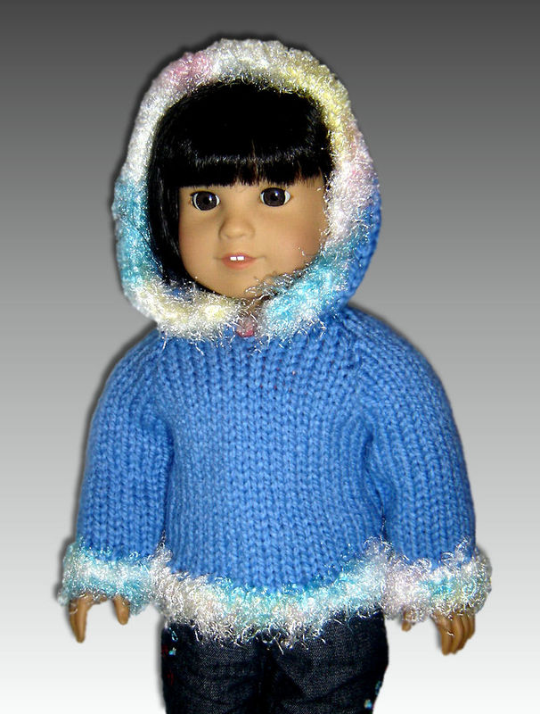 Hooded Vest Knitting Pattern for 18 inch dolls
