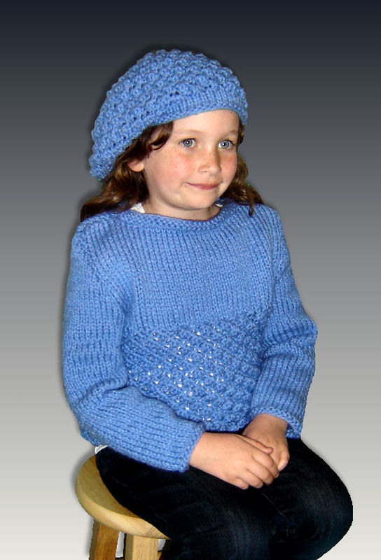 Knitting Pattern for Girls. Chunky Sweater and Slouchy hat ...
