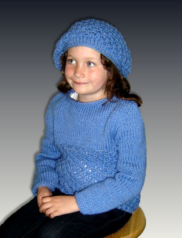 Knitting Pattern For Girls Chunky Sweater And Slouchy Hat