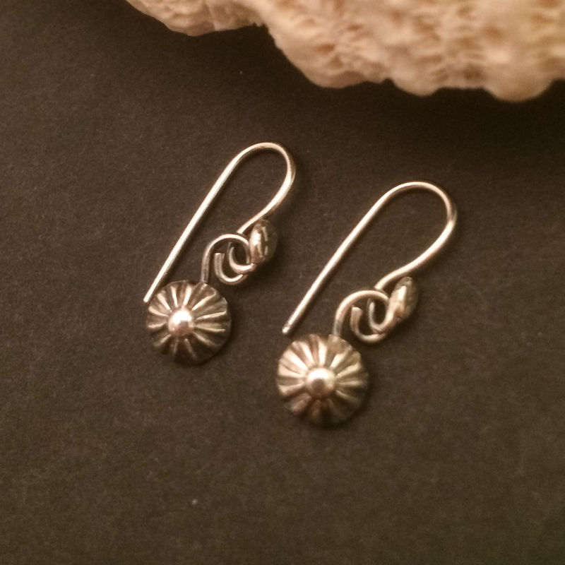 Sterling Silver Small Flower Dangle Earrings Minimalist Handcrafted Silversmith Casual Everyday