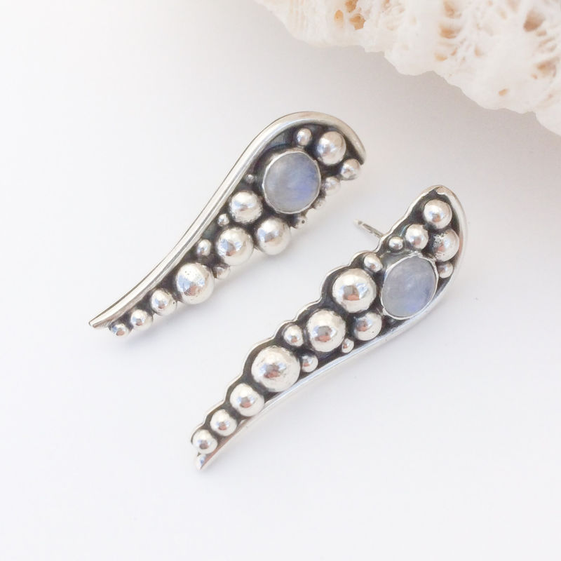Rainbow Moonstone Stud Earrings Long Post