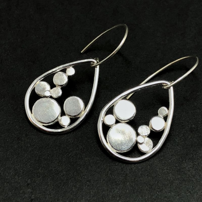 Sterling Silver Polka Dot Earrings Hand Fabricated Teardrop Dangles