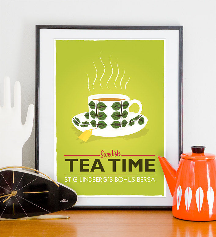 Tea Print Kitchen Art Mid Century Modern Stig Lindberg Swedish Tea Time Lime A4