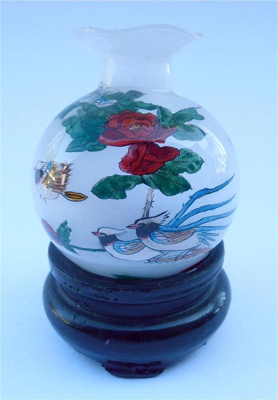 Vintage Chinese Painted Miniature Vase Frosted Jar Exotic