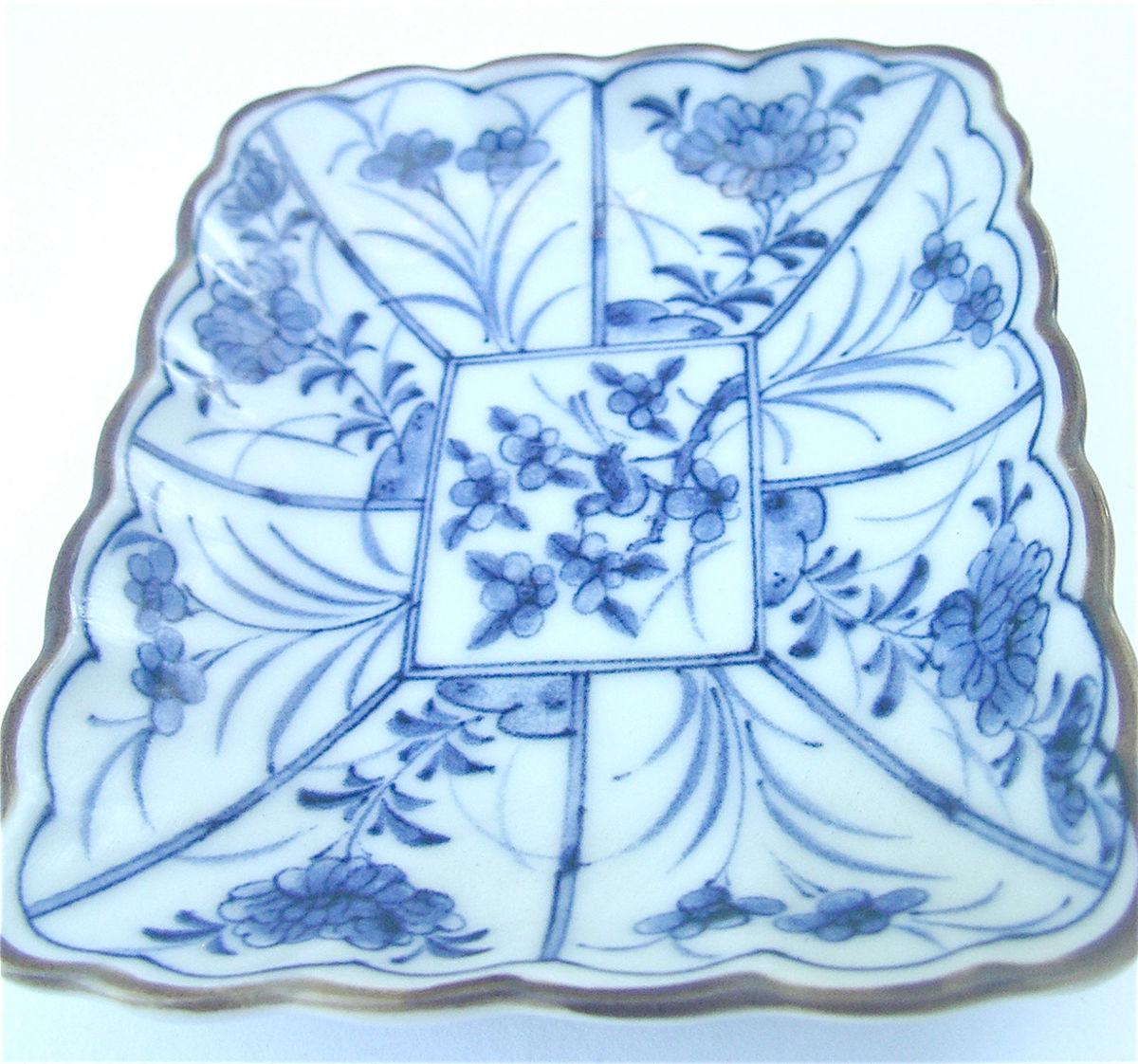Vintage Blue White Japanese Ceramic Rectangle Indigo