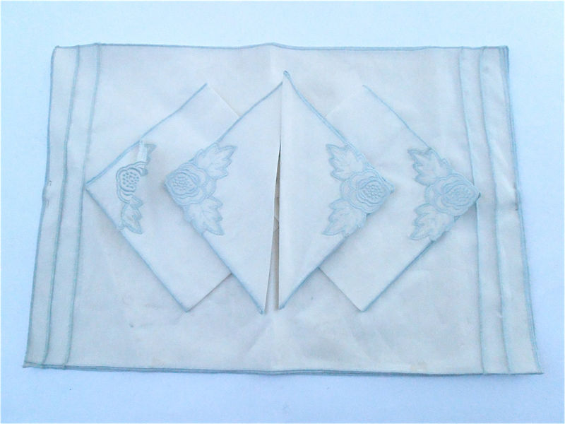table shabby chic placemats vintage baby blue white cotton napkin placemat set embroidered