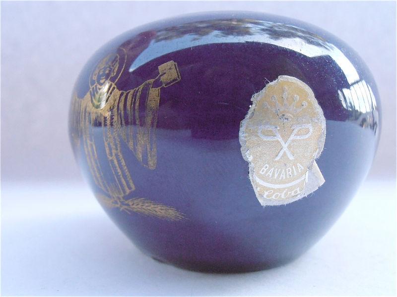 Vintage Cobalt Indigo Dark Blue Vase Bavaria Echt Round