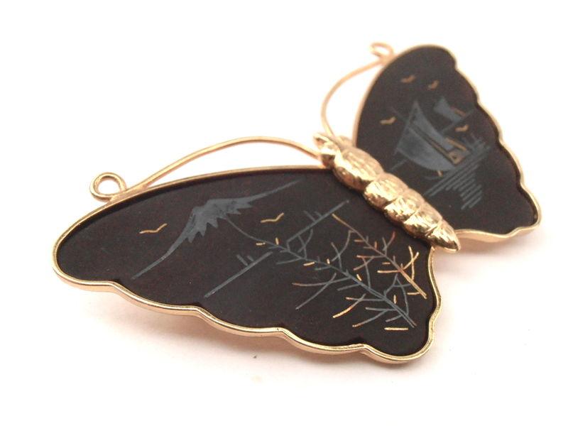 Vintage Butterfly Amita Damascene Brooch Matte Black Pin