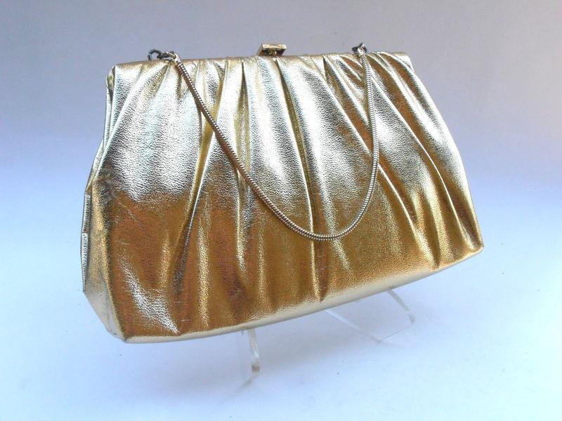 f2e281e67 Vintage Gold Metallic Handbag Faux Leather Golden Clutch Purse Lame Bag  Formal Evening Bag Mid Century Compact Snake Chain Drop Handle - Villa  Collezione ...
