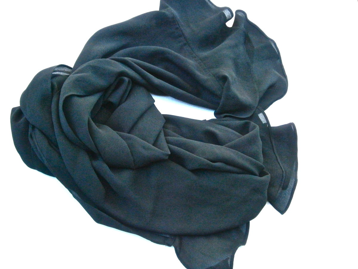 Vintage Black Georgette Ruffle Scarf Edges Wrap Polyester