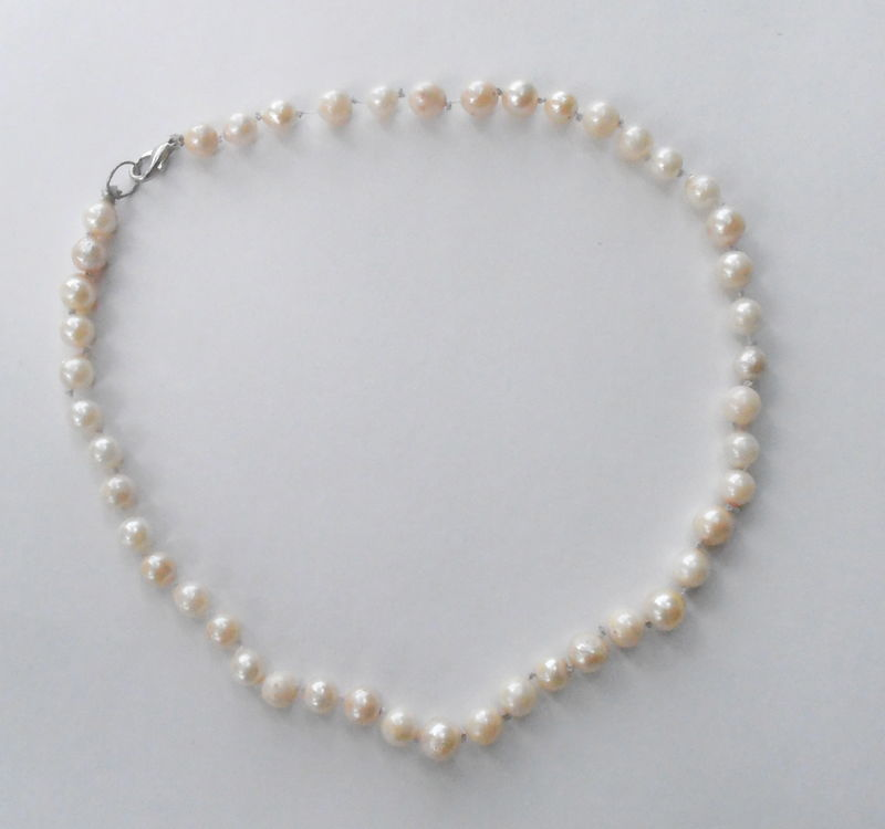 5e45f456885116 Vintage Pearl Necklace Cultured Pearl Necklace Genuine White Pearl Bead Necklace  Real Pearl Art Deco Necklace Single Strand Pearl Necklace - Villa ...