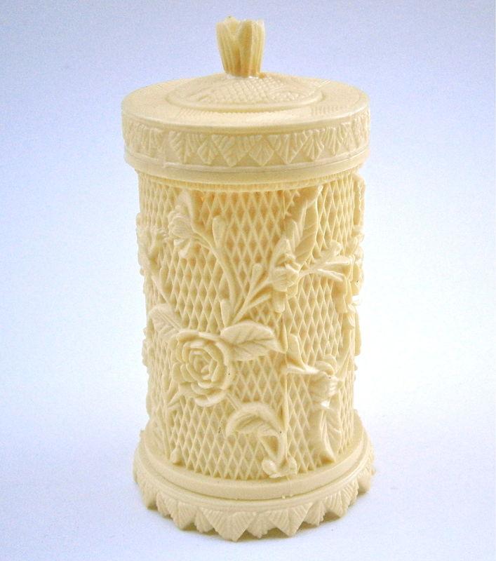 Vintage Faux Ivory Toothpick Holder Flower Plastic