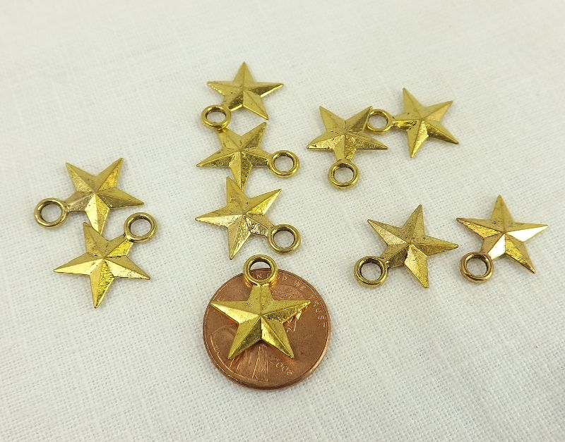 Patriotic star charms 15mm gold plate stars jewelry making gold