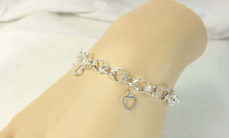 Hearts Chain Bracelet Hand Made Heart Links Womens Jewelry Charm My Pretty Muse