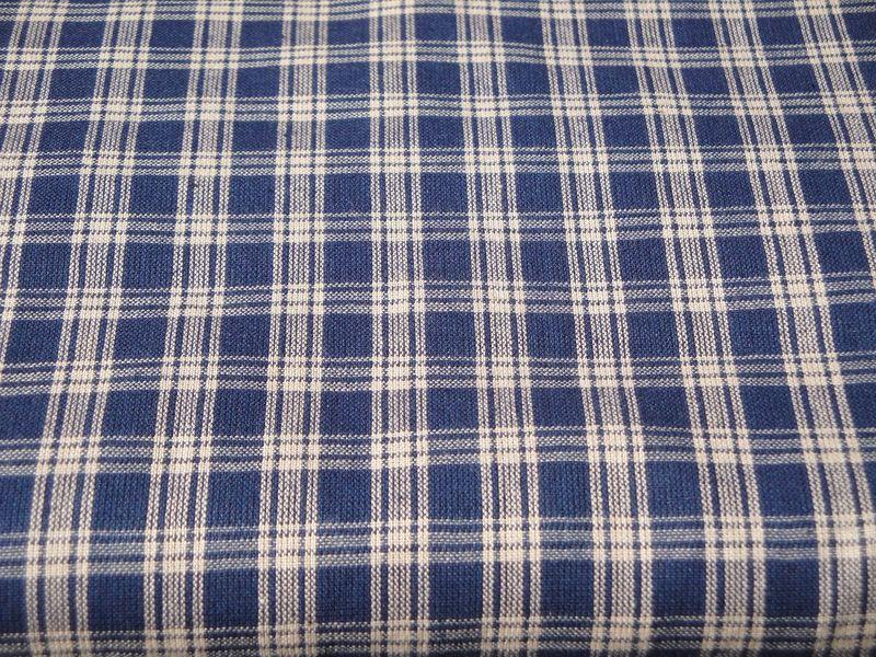 Navy Blue And Tan Basic Plaid Cotton Homespun Fabric Sold