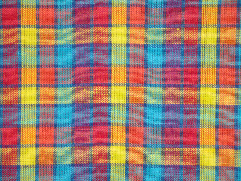 Cotton Homespun Multi Color Plaid Fabric Sold By The Yard