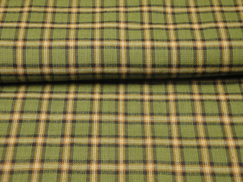Plaid Homespun Fabric Green Black Butterscotch And Natural