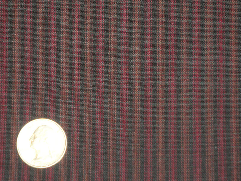 Ticking Stripe Homespun Fabric Black And Wine Sold By The Yard