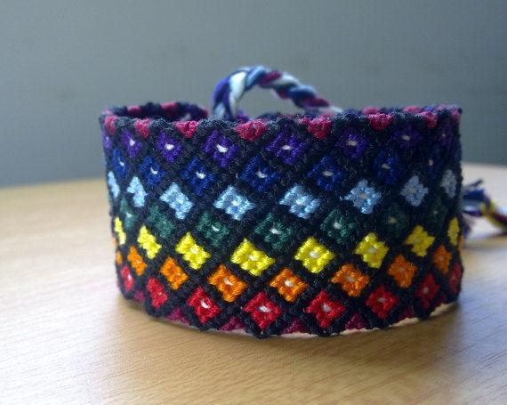 1ef91a41dea6b Friendship bracelet, Rainbow diamonds, Macrame bracelet, made to order