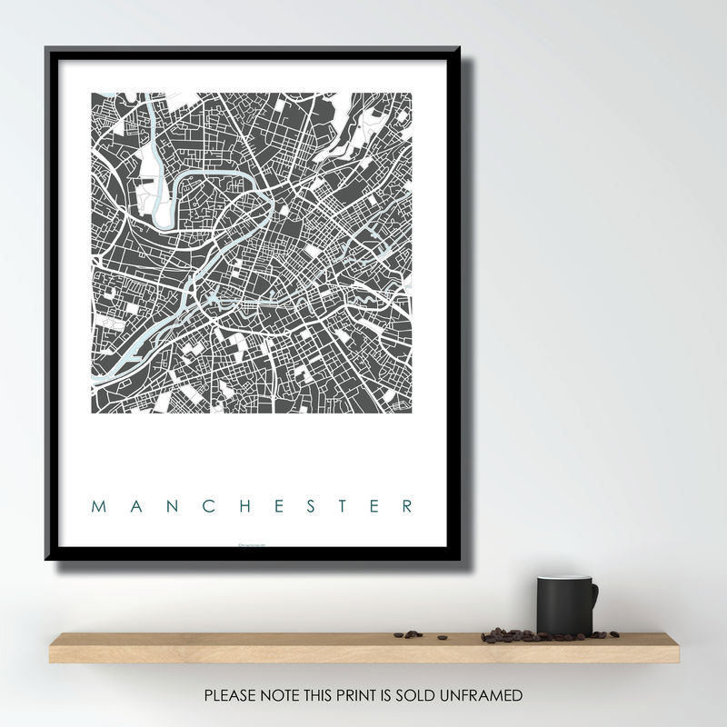 Manchester Map Art Prints - Limited Edition Prints on map flags, map design, antique maps and prints, map clothing, map of california, map accessories, map home decor, map wedding, map medieval prints, map craft prints,