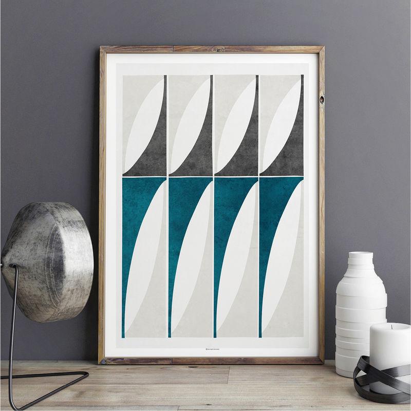 Abstract Geometric Art Prints Large Blue Wall Art Living Room