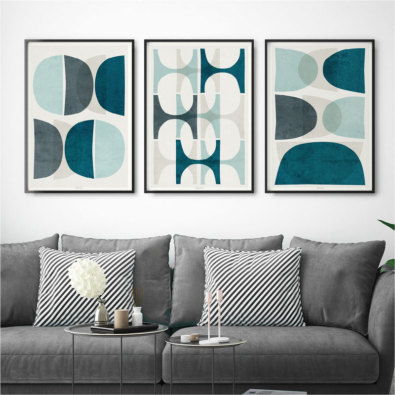 Set Of 3 Abstract Prints Blue Wall Art Prints Large Wall Art Prints