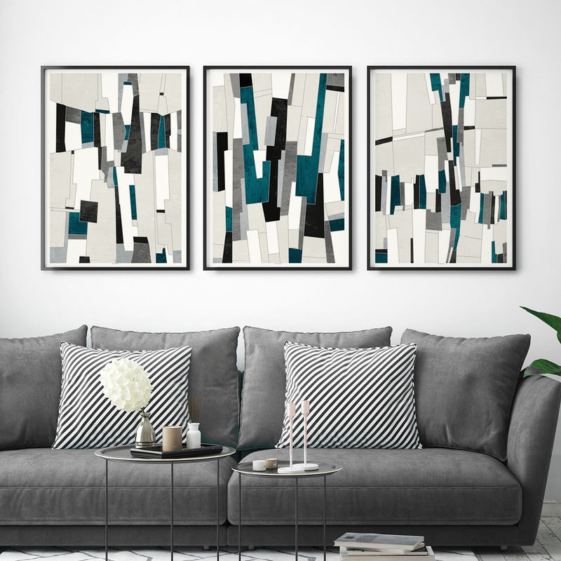 Set Of 3 Abstract Art Prints Office Wall Art Large Wall Prints Triptych
