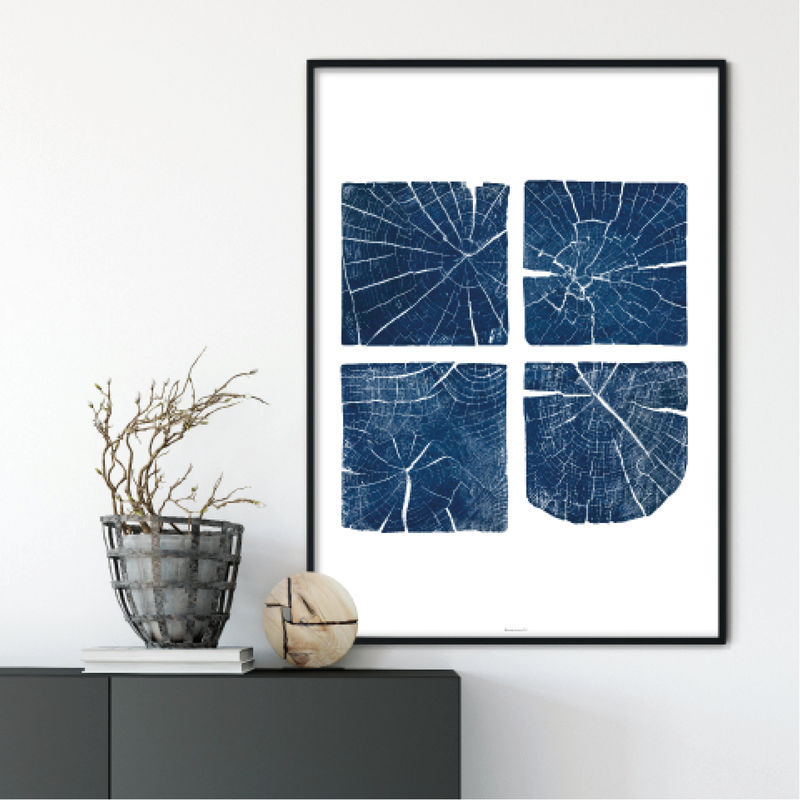 Large Tree Section Wall Art Print Indigo Blue And White Wall Decor