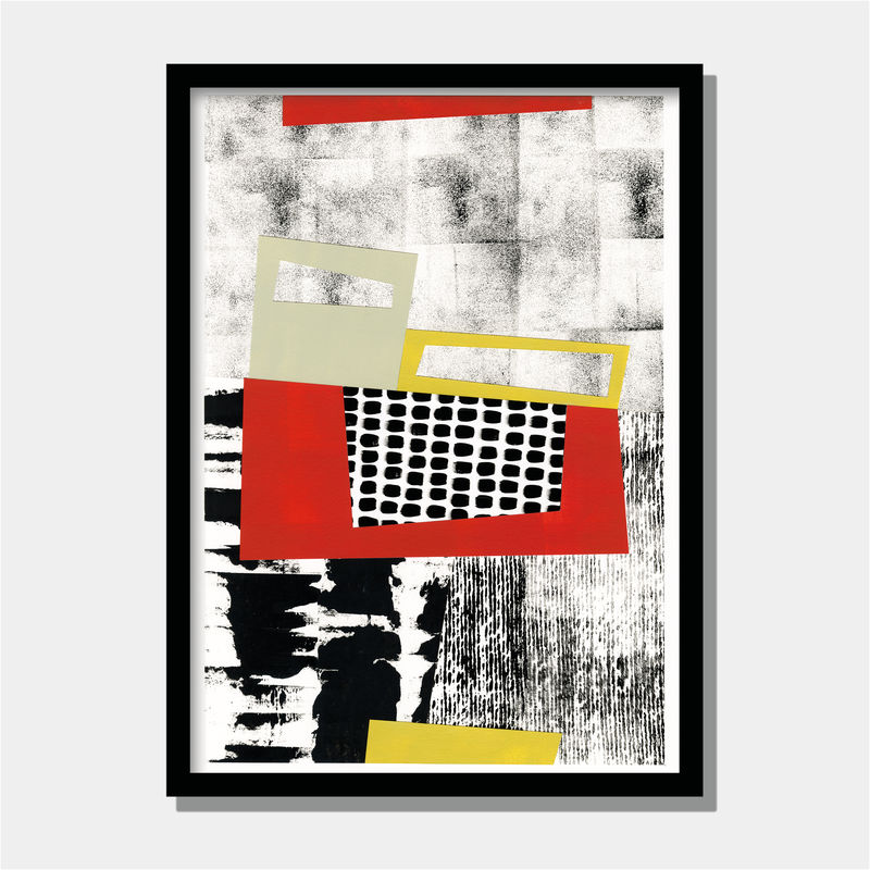 Original Mixed Media Painting Contemporary Collage Art Work Black And White Abstract Art