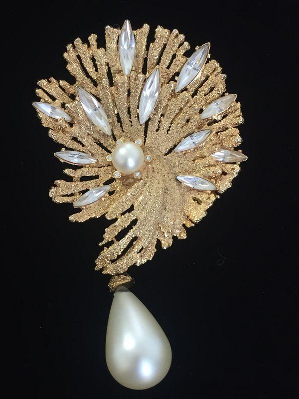 Vintage Gold Tone Crystal Navette And Pearl Teardrop