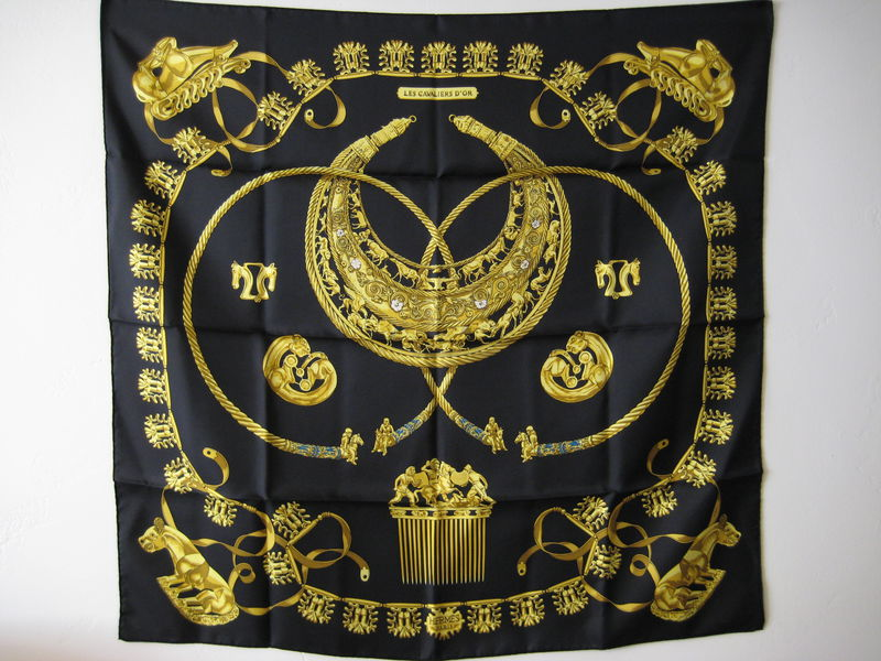 Hermes Silk Scarf Carre Cavaliers dOr by Rybal in Black