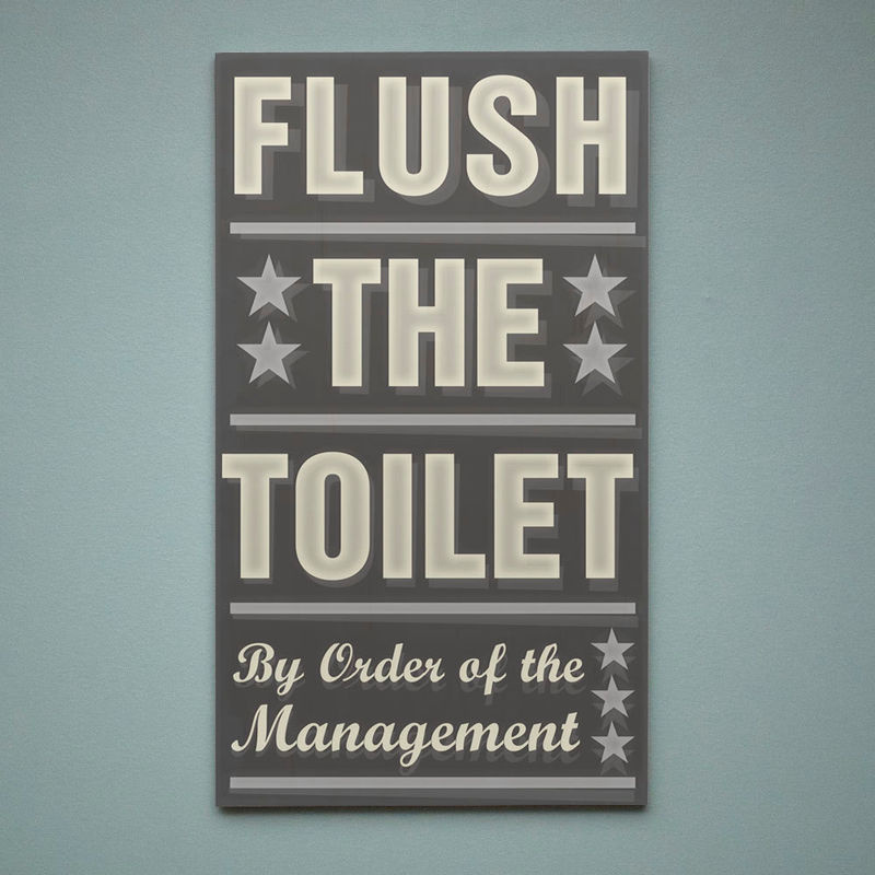 Neutral Bathroom Art Flush The Toilet By Order Of Management Word Block