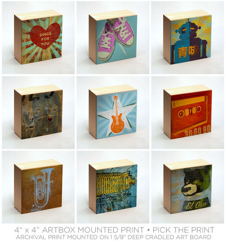 Art On Wood Art Box Wall Decor Pick The Art Print 4 Quot X 4