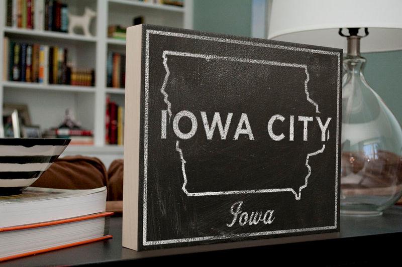 Gift for Girlfriend- Iowa City Art- City State Art Box- Iowa City Iowa Map  Print- 11 x 14- Map of Iowa State Map Art
