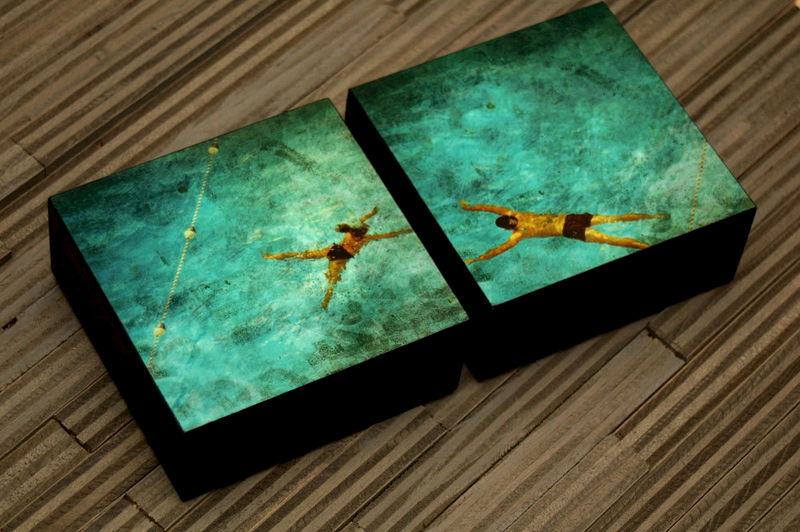 Swimming Pool Art- 4 x 4 Art Box Set of Two Swimmers Fine Art Photographs  Gift for Husband- Ready to Hang Gift for Wife- Gift for Swimmer