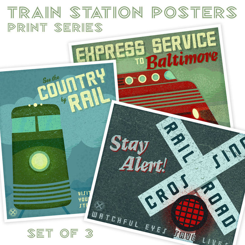 Train Station Posters Set