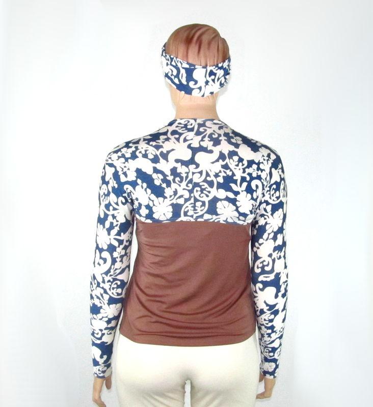 072875d3a63a42 Kobieta Blue & Cream Scrolling Print Yoga Shrug with Matching Headband/Wrap-Bamboo  Jersey- Size M/L - Kobieta Clothing Company