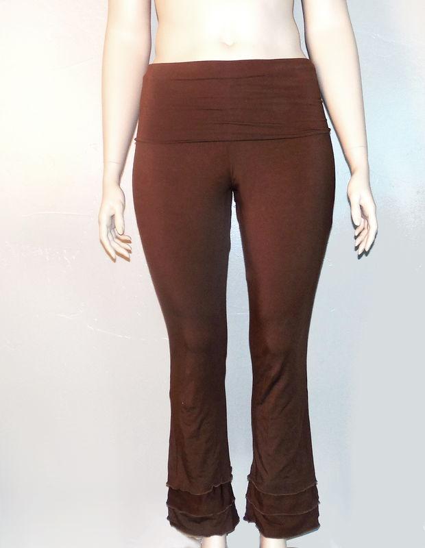 Kobieta Triple Ruffle Hem Yoga Pants In Organic Bamboo Cotton Bootcut Pants Ready To Ship Chocolate Brown Size Medium Large Kobieta Clothing Company