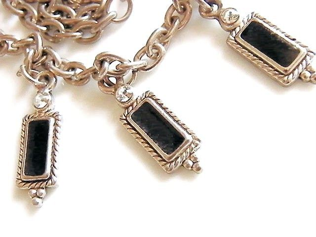 Vintage Necklace Fringe Bib Black Enamel Charms Choker