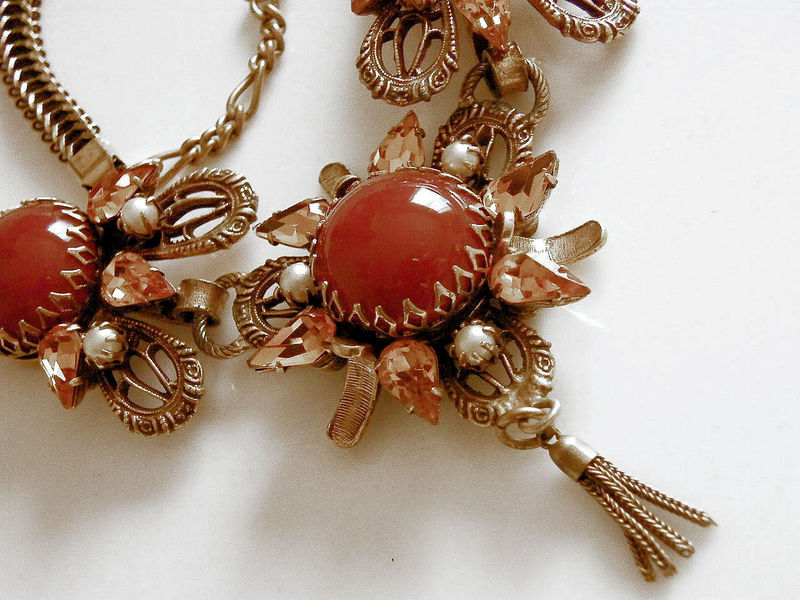 Sold Vintage Neoclassical Necklace Red Jasper Or