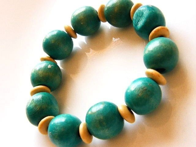 Vintage Stretch Bracelet Natural And Blue-Green Teal Wood Beads - product  images of