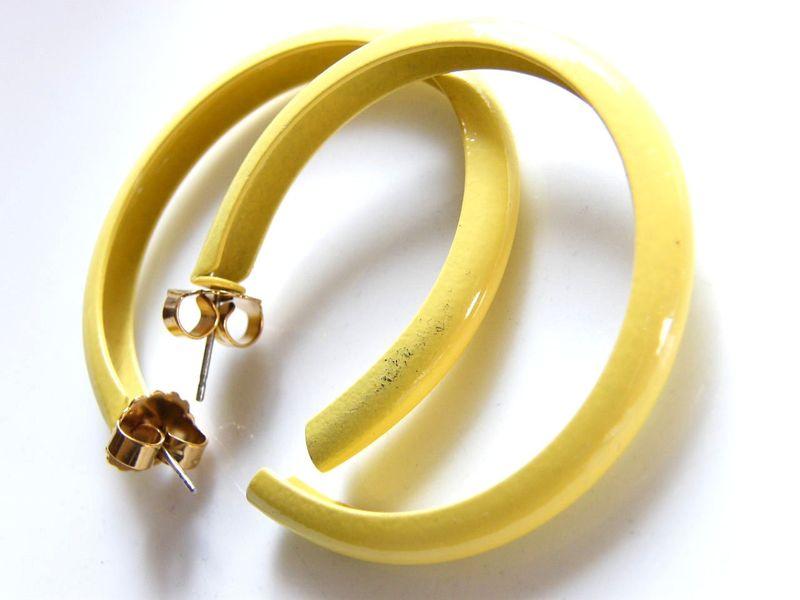 Simple Vintage Earrings Large Mustard Yellow Enameled