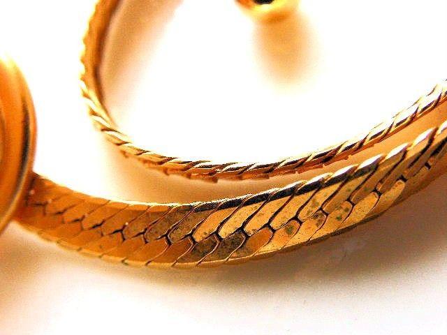 Monet Choker Necklace Vintage Gold Tone With Sliding Pendant