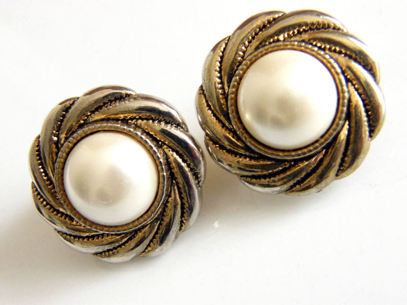 Vintage Clip Earrings Hurricane Swirl Frame White Cabochon Past Enchantment