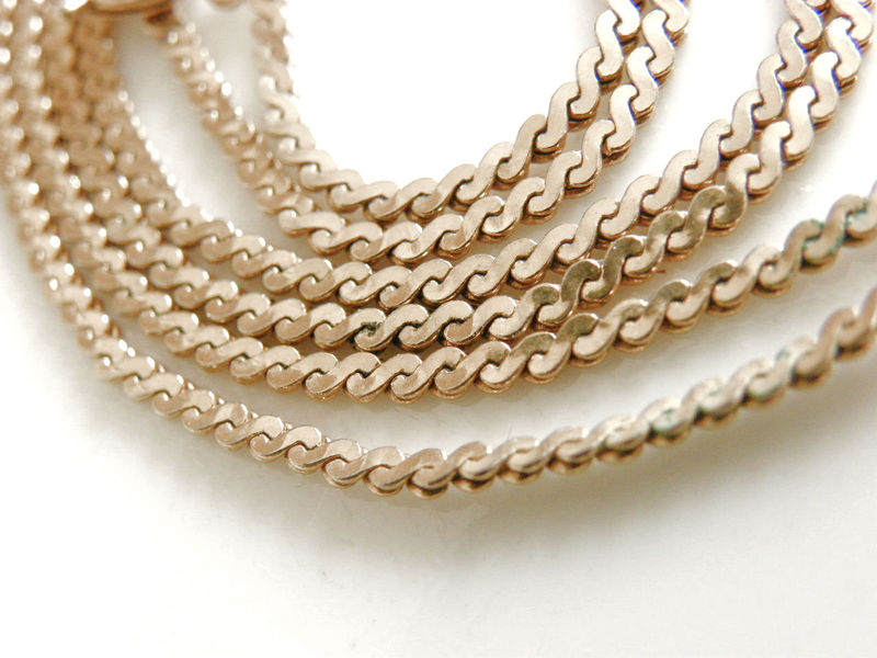 Vintage Dainty Flat S Chain Link Necklace 28 Inch Gold