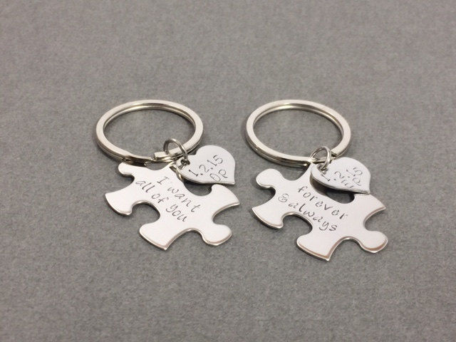47fcf5d076951 Personalized Puzzle Piece Keychains with heart charm add on