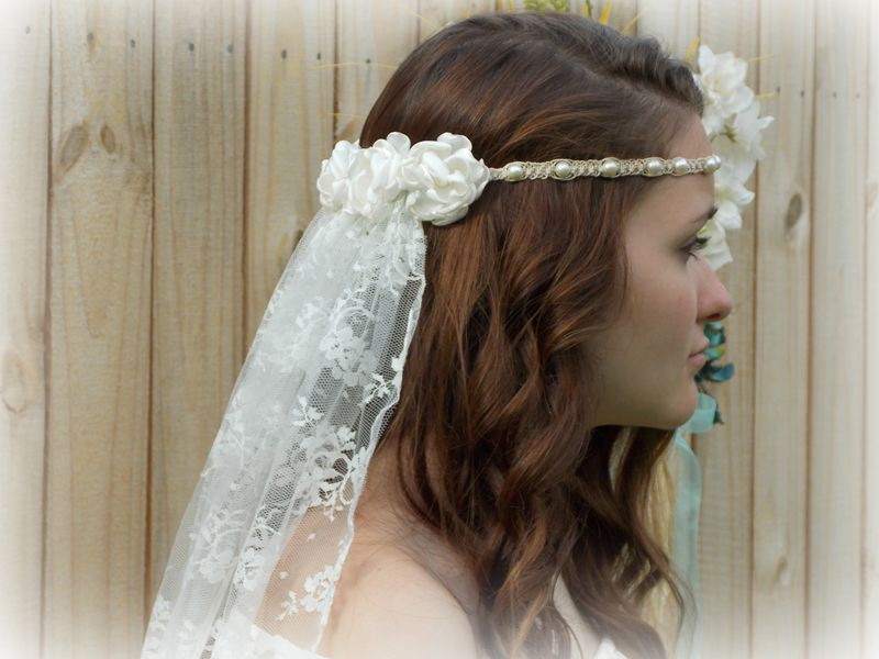Hippie Wedding Veil - Hemp Headband - Pearls and Satin Flowers - MoJo s  Free Spirit a57f80bd86f